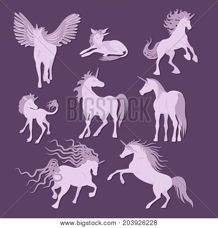 Vector unicorns image collection. Elements for design. Cute pink and lilac unicorns set. Fairy magic elements, vector objects, flat design illustration. Beautiful horses with horn. Violet silhouettes