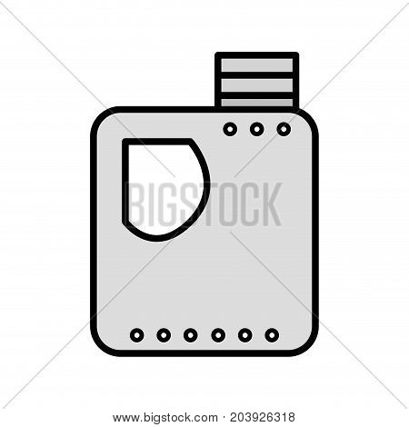 grayscale gasoline bottle to car industrial equipment vector illustration