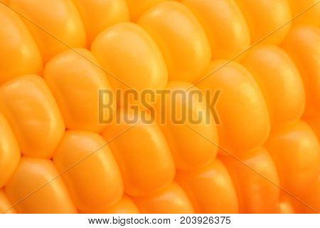 Macro Corn Kernels Closeup Texture. Freshness Yummy Background. Cooking Corn Recipe.