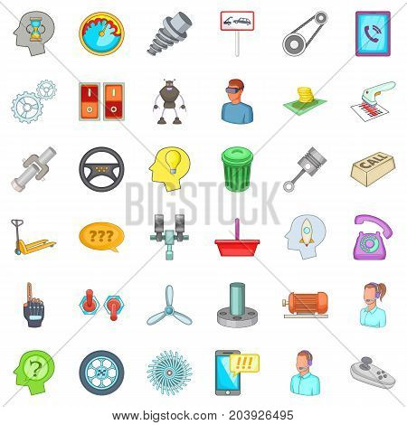Towing icons set. Cartoon style of 36 towing vector icons for web isolated on white background