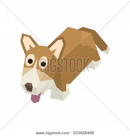 Vector breed isometric dog. Isolated cute isometry animal. Element of geometric welsh corgi for 3d game. Icon of domestic and home dog, puppy. Vector illustration art.