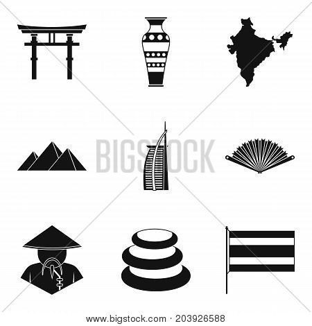 Religious place icons set. Simple set of 9 religious place vector icons for web isolated on white background