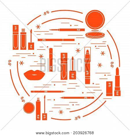 Vector Illustration Of Different Lip Make-up Tools Arranged In A Circle. Including Icons Of Lipstick