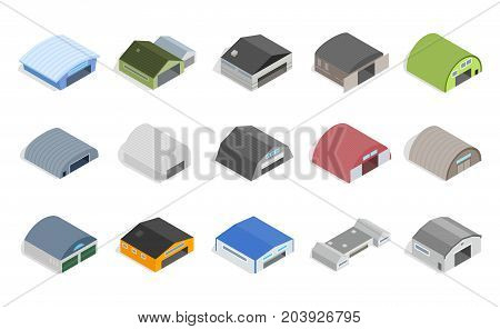 Hangar icons set in isometric 3d style isolated on white background. Hangar vector icons illustration