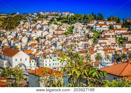 Scenic view at medieval town Hvar, famous tourist place in Croatia during summertime.