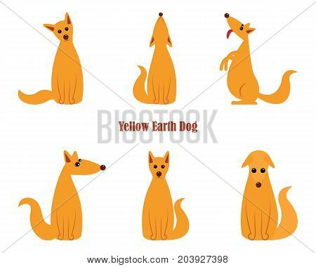 Dog is symbol of New 2018 year, according to Chinese calendar Year Of Yellow Earth Dog. Guard dog German shepherd in polygons style, sitting on hind legs. Pet and guard dog, loyal friend of man