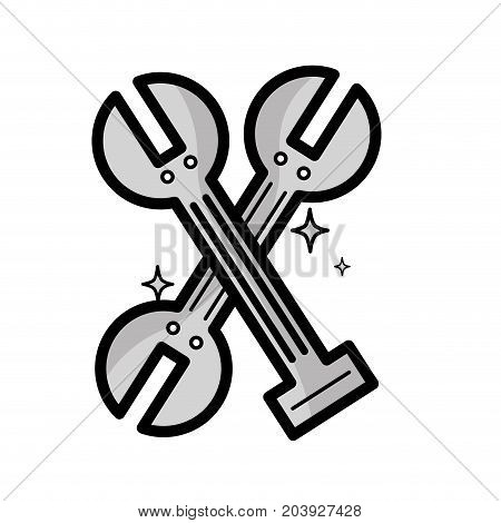 grayscale mechanical wrench tool to service repair vector illustration