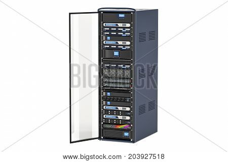 Computer Server Rack with opened door 3D rendering isolated on white background