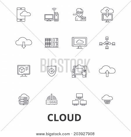 Cloud technology, internet, web, system administration, hosting line icons. Editable strokes. Flat design vector illustration symbol concept. Linear signs isolated on background