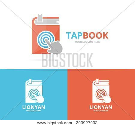 Vector book and click logo combination. Novel and cursor symbol or icon. Unique bookstore, library and digital logotype design template.