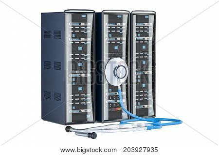 Computer Server Racks with stethoscope. Recovery and repair concept 3D rendering isolated on white background