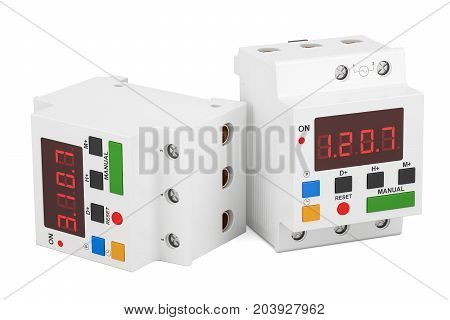 Digital timer switches 3D rendering isolated on white background