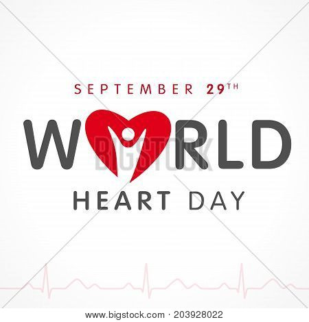 World Heart Day lettering card, heart and pulse trace. Vector illustration concept World Heart Day background for banner or poster, September 29