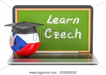 Learn Czech concept with laptop blackboard and graduation cap 3D rendering