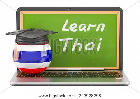 Learn Thai concept with laptop blackboard and graduation cap 3D rendering