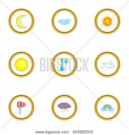 Weather report icons set. Cartoon set of 9 weather report vector icons for web isolated on white background