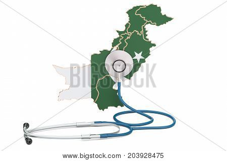 Pakistani map with stethoscope national health care concept 3D rendering
