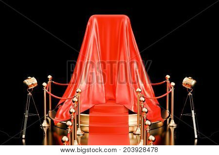 Podium with smartphone covered red cloth presentation of new phone. 3D rendering