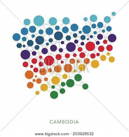 dotted texture Cambodia vector rainbow colorful background
