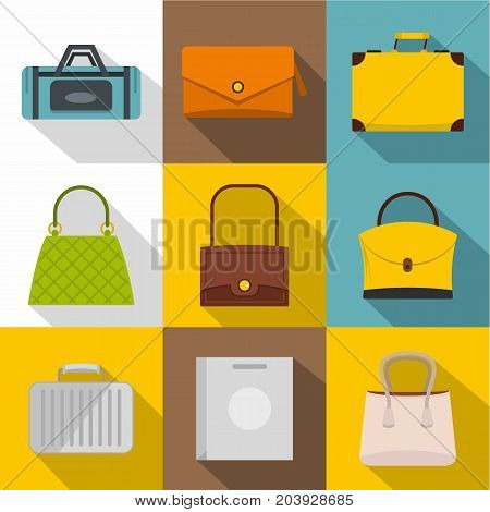 Bags for all occasions icon set. Flat style set of 9 bags for all occasions vector icons for web design