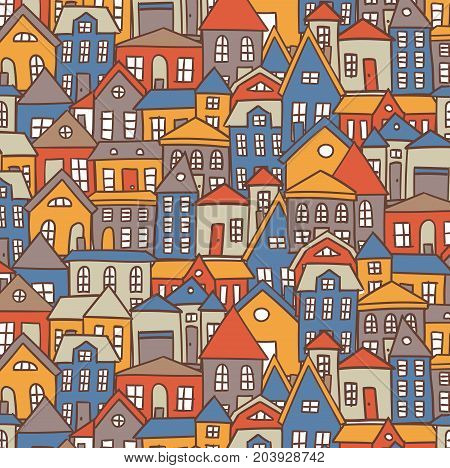 Doodle cartoon houses colorful bright vector background