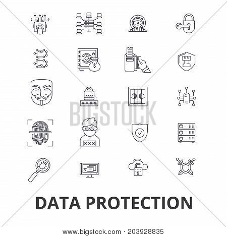 Data protection, online security, hacker, safety, access, privacy, guard line icons. Editable strokes. Flat design vector illustration symbol concept. Linear signs isolated on background