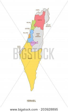 Israel regions, multicolored vector province geography background