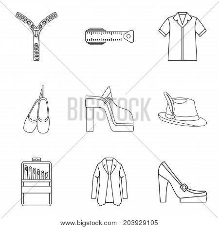 Elegant clothes icon set. Outline set of 9 elegant clothes vector icons for web design isolated on white background