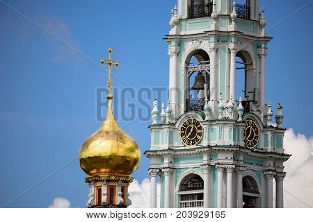 Clock of the big Bell tower of the Sergiev Posad monastery (Trinity Lavra of St. Sergius) - most important Russian monastery of the Russian Orthodox Church. Sergiev Posad, Golden Ring, Russia