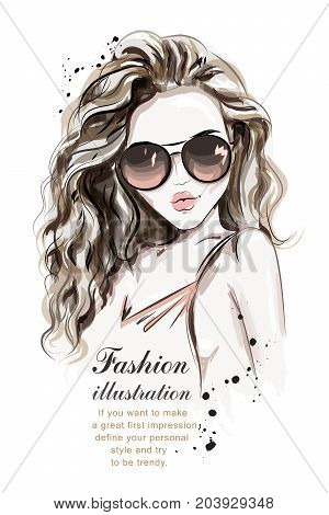 Beautiful young woman with long hair. Stylish hand drawn girl in sunglasses. Fashion woman. Sketch. Vector illustration.