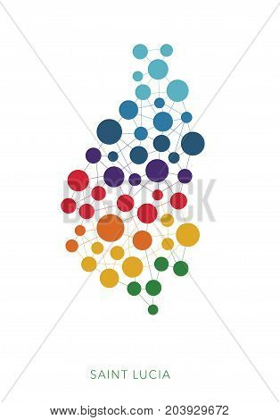 dotted texture Saint Lucia vector rainbow colorful background
