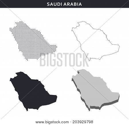 Saudi Arabia map vector collection, abstract geography patterns