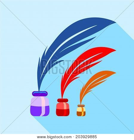 Feather and ink sizes icon. Flat illustration of feather and ink sizes vector icon for web design