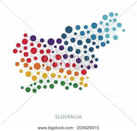 dotted texture Slovenija vector rainbow colorful background