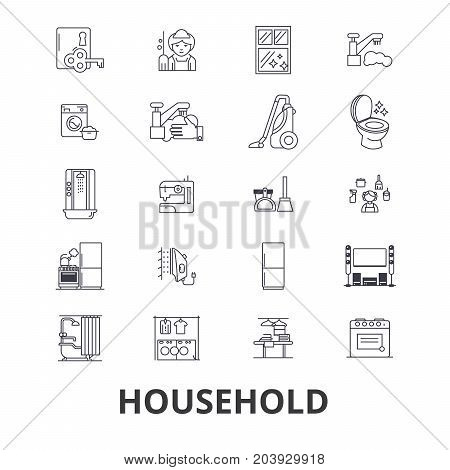 Household, equipment, cleaning, home, house, machine, appliances line icons. Editable strokes. Flat design vector illustration symbol concept. Linear signs isolated on background