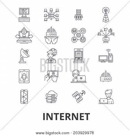 Internet, web, network, communication, online site, social, website line icons. Editable strokes. Flat design vector illustration symbol concept. Linear signs isolated on background