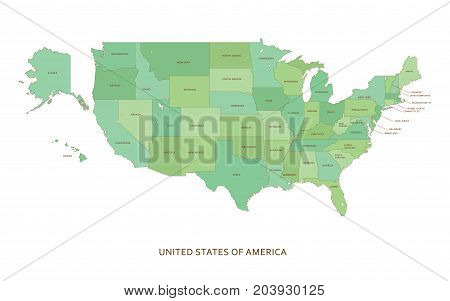 USA states, vector regional geography multicolored background