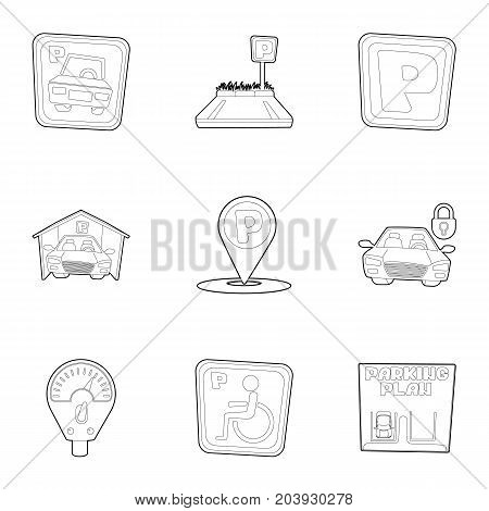 Toll parking icons set. Outline set of 9 toll parking vector icons for web isolated on white background