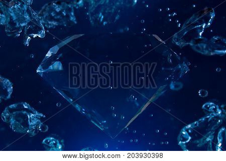 Photo of a blue diamond in water with bubbles floating.