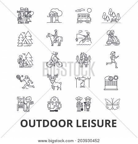 Outdoor leisure, vacaton, activity, hobby, lifestyle, travel line icons. Editable strokes. Flat design vector illustration symbol concept. Linear signs isolated on background