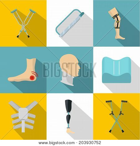 Orthopedic disease icon set. Flat style set of 9 orthopedic disease vector icons for web design