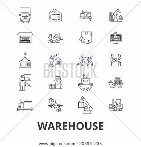Warehouse building, logistics, delivery, storage, forklift, industry, store line icons. Editable strokes. Flat design vector illustration symbol concept. Linear signs isolated on background