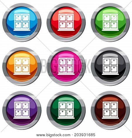 Cells for storage in the supermarket set icon isolated on white. 9 icon collection vector illustration