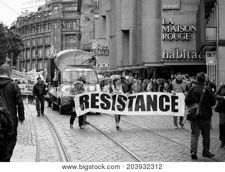 Resistance Banner At French Protest Political March During A French Nationwide Day Against Macrow La