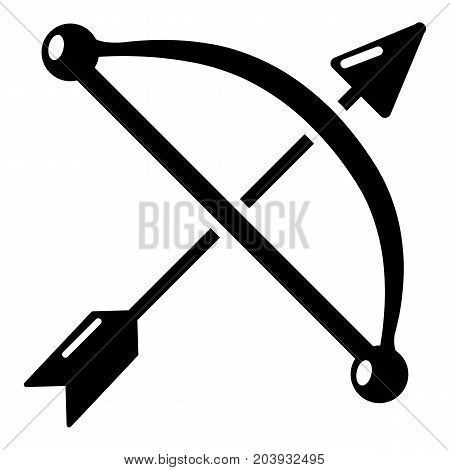 Medieval bow and arrow icon. Simple illustration of bow and arrow vector icon for web isolated on white background