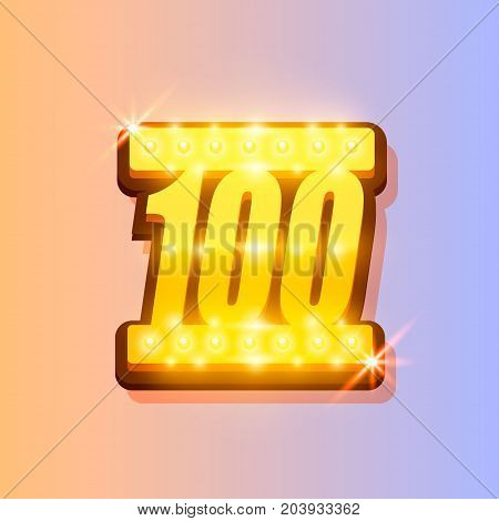 Award number 100 banner, gold object on the color background. Vector illustration