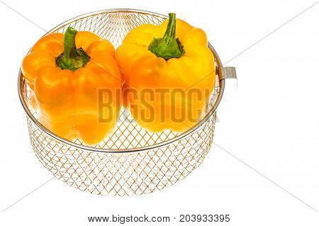 Yellow paprika on white background. Studio Photo
