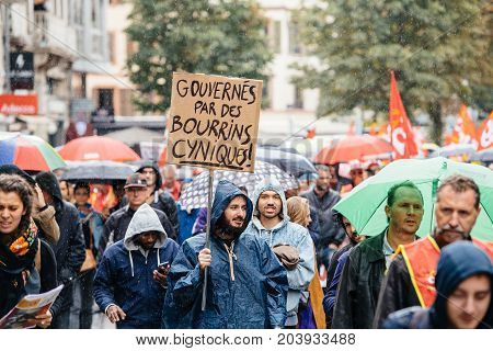 Large Crowd Political March During A French Nationwide Day Against Macrow Labor Law
