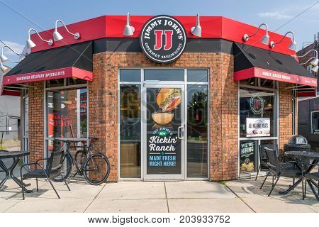ST PAUL MN/USA - SEPTEMBER 10 2017: Jimmy John's restauraut exterior. Jimmy John's is an American fast food restaurant franchise that sells submarine sandwiches and salads.