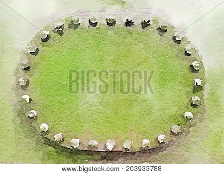 Digital watercolor painting of a metal plate inspection hatch on the side of a vintage steam train blank with space for text. Oval shape surrounded by nuts and bolts.
